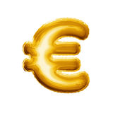 Balloon a folha dourada do símbolo de moeda 3D do Euro realística Imagem de Stock