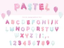 Balloon font design in pastel colors. Cute ABC letters and numbers. For birthday, baby shower celebration. Stock Photos