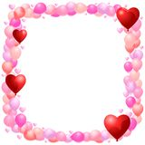 Balloon frame with hearts. Vector balloon frame with hearts and implied transparency Royalty Free Stock Image