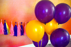 Balloon and garland for party. Decor for child`s Birthday. stock photo