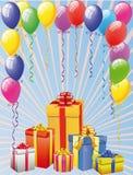 Balloon and Gift Boxes Royalty Free Stock Photos