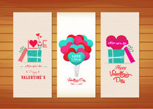Balloon and gifts Valentines Day Cards.  Royalty Free Stock Photos