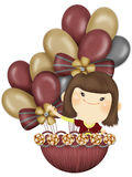 Balloon girl. Cute cartoon illustrator girl, suitable for a variety of purposes design Royalty Free Stock Photos