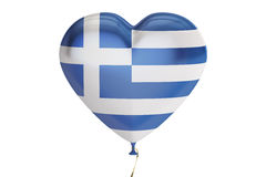 Balloon with Greece flag in the shape of heart, 3D rendering Stock Images