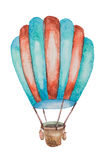 A balloon of green and red for travel with a basket drawn in watercolor. A large balloon of green and red for travel with a basket drawn in watercolor Royalty Free Stock Images