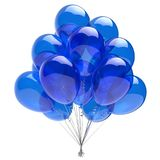 Balloon happy birthday party decoration blue glossy balloons. Holiday anniversary celebrate invitation greeting card. 3d illustration Royalty Free Stock Image
