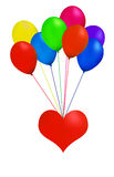 Balloon heart. Multicolor balloon with heart in white background Royalty Free Stock Image