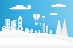 Balloon Heart float in concept love valentine day design art paper style on sky background with the city. illustration Vector.  Royalty Free Stock Images