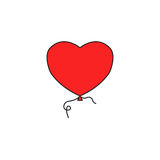 Balloon heart and love solid icon, valentines day. Balloon like heart and love solid icon, valentines day, vector graphics, a colorful linear pattern on a white Stock Photo