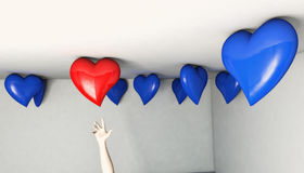 Reach for the Red Balloon Heart. Reaching up for a specific heart shaped balloon Royalty Free Stock Photos