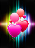 Balloon Hearts on Abstract Spectrum Background Stock Image