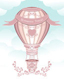 Balloon with hearts ribbons flowers Stock Photography