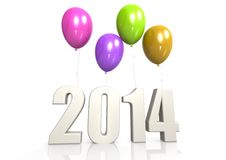 2014 with balloon. Hi-res original 3d-rendered computer generated artwork Royalty Free Stock Photography