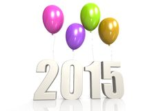 2015 with balloon. Hi-res original 3d-rendered computer generated artwork Stock Photo