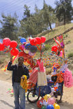 Balloon , ice cream seller in ajloun street in jordan