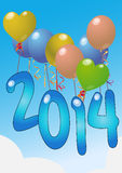 2014 balloon. Illustration of 2014 balloon with sky Stock Photo