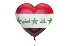 Balloon with Iraq flag in the shape of heart, 3D rendering Royalty Free Stock Photo