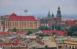 Balloon in Krakow, Poland. Krakow cityscape from above, Poland Royalty Free Stock Image