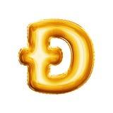 Balloon l'alfabeto realistico della stagnola dorata del dyet 3D della lettera D Fotografie Stock Libere da Diritti