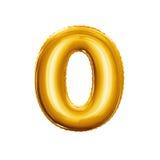 Balloon l'alfabeto realistico della stagnola dorata zero 3D di numero 0 Immagine Stock