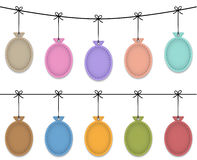 Balloon labels. Balloon leather labels hanging like Christmas baubles. Vector illustration royalty free illustration