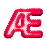Balloon letter AE ligature 3D golden foil realistic alphabet Stock Photo