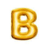 Balloon letter B 3D golden foil realistic alphabet. Balloon letter B. Realistic 3D isolated gold helium balloon abc alphabet golden font text. Decoration element stock photography