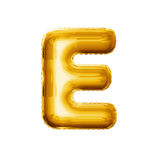 Balloon letter E 3D golden foil realistic alphabet. Balloon letter E. Realistic 3D isolated gold helium balloon abc alphabet golden font text. Decoration element royalty free stock photo