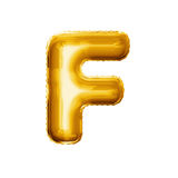Balloon letter F 3D golden foil realistic alphabet. Balloon letter F. Realistic 3D isolated gold helium balloon abc alphabet golden font text. Decoration element stock photos