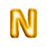 Balloon letter N 3D golden foil realistic alphabet. Balloon letter N. Realistic 3D isolated gold helium balloon abc alphabet golden font text. Decoration element stock image