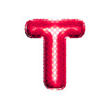 Balloon letter T 3D golden foil realistic alphabet Royalty Free Stock Photos