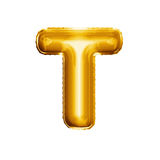 Balloon letter T 3D golden foil realistic alphabet. Balloon letter T. Realistic 3D isolated gold helium balloon abc alphabet golden font text. Decoration element stock photography