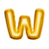 Balloon letter W 3D golden foil realistic alphabet. Balloon letter W. Realistic 3D isolated gold helium balloon abc alphabet golden font text. Decoration element royalty free stock images