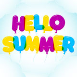 Balloon Lettering, colorful Hello Summer text.  Rounded, semi-transparent, cartoon letters on a blue sky background Royalty Free Stock Photos