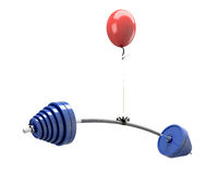Balloon lifting a barbell Royalty Free Stock Images