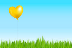 Balloon Like As Sun Above Grass. Vector Royalty Free Stock Image