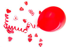 A balloon and a lot of hearts Stock Photography