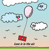 Balloon with love letter. Flying in the sky with cute clouds. Love is in the air Stock Image