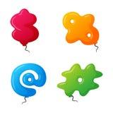 Balloon mark vector set. English balloon colorful mark on white background. Holidays and education ozone type sign. Greeting helium cartoon festive decoration Royalty Free Stock Photo