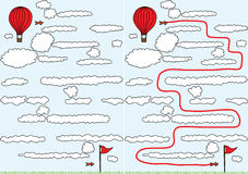 Balloon maze. Easy balloon maze for kids with solution vector illustration