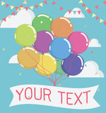 Balloon with message on banner,  illustration Royalty Free Stock Photography