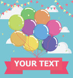 Balloon with message on banner, vector illustration Royalty Free Stock Photography