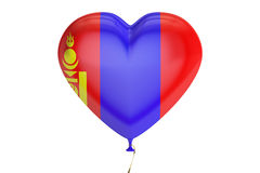 Balloon with Mongolia flag in the shape of heart, 3D rendering Stock Images