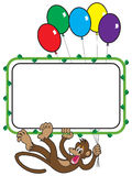 Balloon Monkey. Happy monkey holding balloons and dangling from sign with vine frame Stock Image
