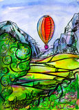 A balloon in the mountains above the plain. Watercolor transparent background for various advertising developments, transparent, bright, natural Blue, purple Royalty Free Stock Image