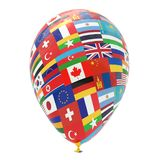 Balloon with national flags of different countries of the world isolated on white. 3D visualization, illustrations royalty free illustration