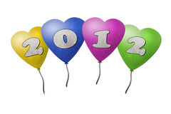Balloon New Year 2012. Recycled paper craft on paper background Stock Photos