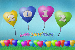 Balloon New Year 2012. Recycled paper craft on paper background stock illustration