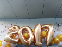 2017 Balloon New Year Decoration. 2017 Golden inflated balloon decoration Royalty Free Stock Image