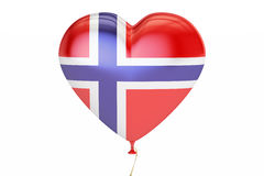 Balloon with Norway flag in the shape of heart, 3D rendering Stock Photography